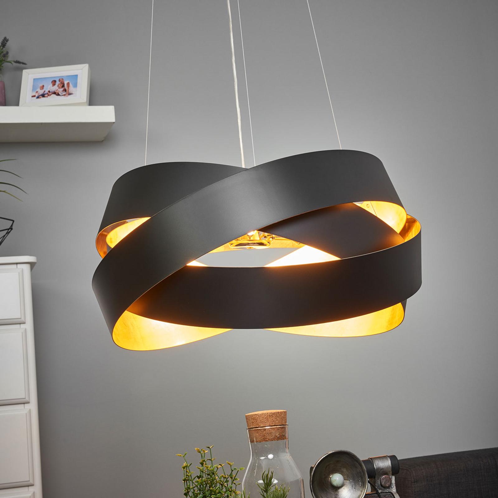 Hanglamp Pura in zwart/goud, 60cm, 8x G9
