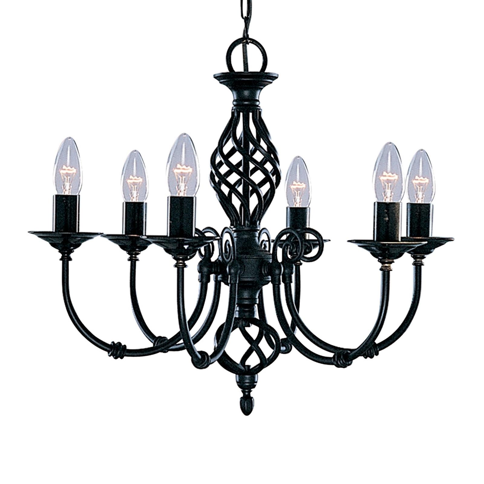 Stijlvolle kroonluchter ZANZIBAR, 6-lichts, zwart