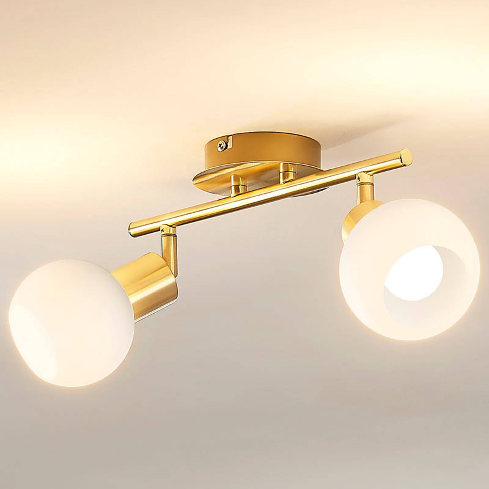 Lampa sufitowa ELAINA z żarówkami LED E14, mosiądz