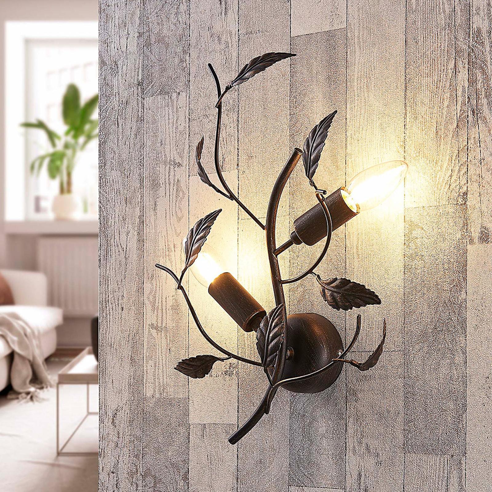 Applique Yos decorata con foglie in metallo