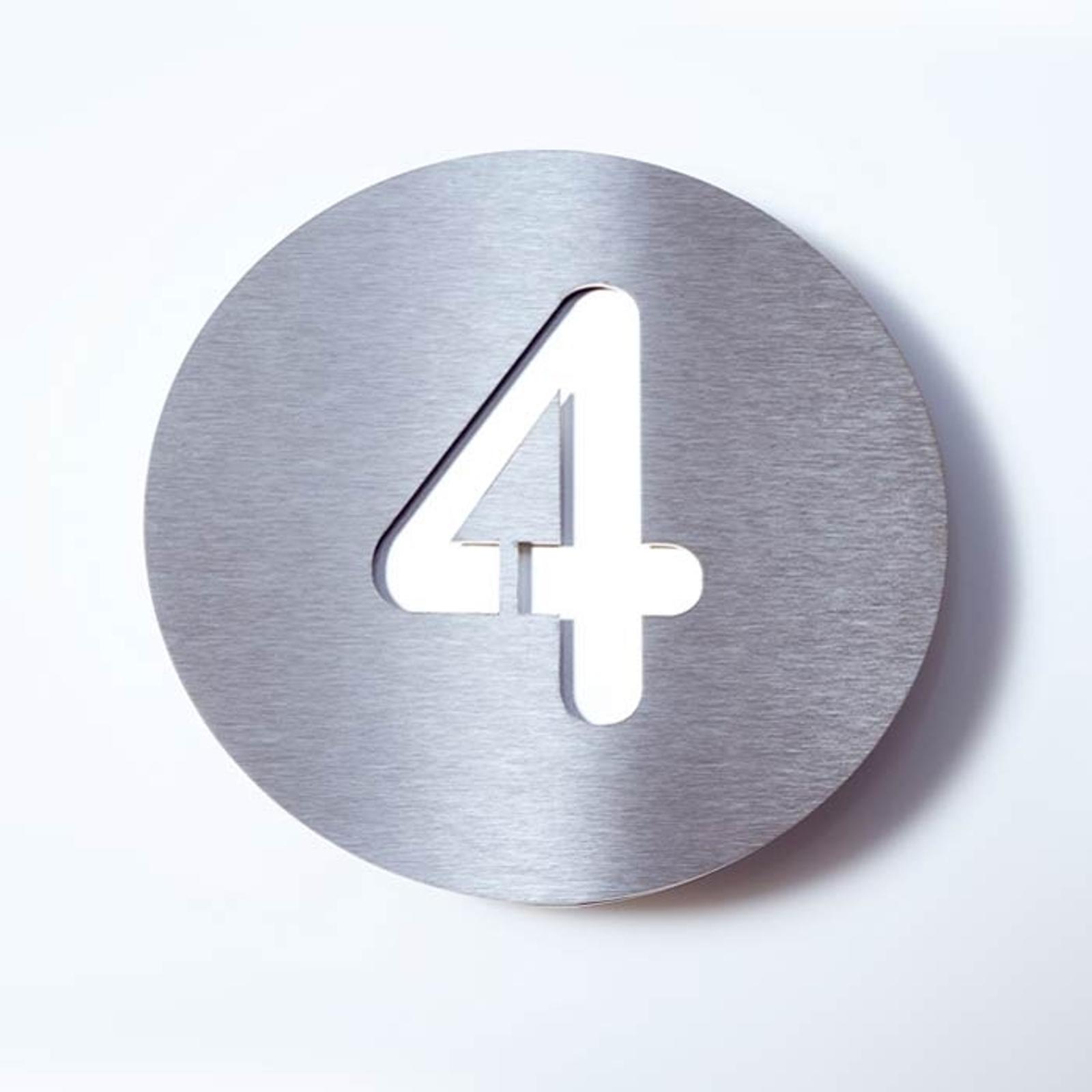 Número de casa Round de acero inoxidable - 4