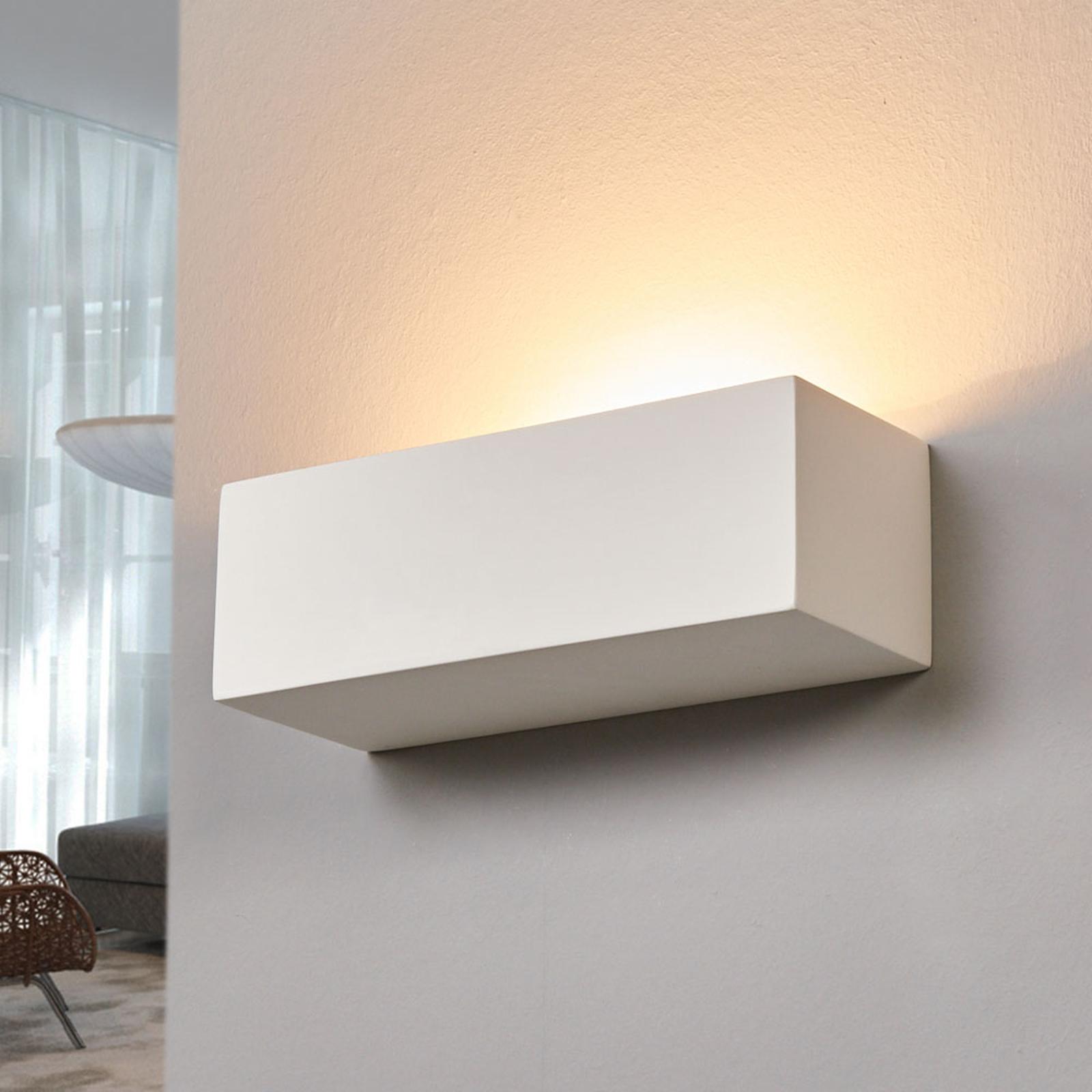 rechthoekige gips wandlamp Jole, overschilderbaar