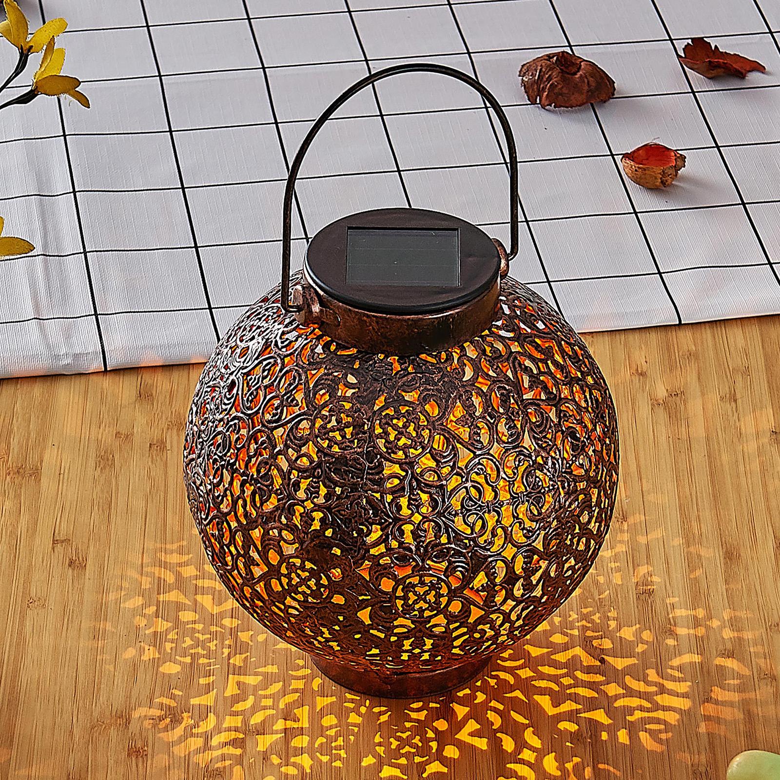 Lindby Dunjaris LED-Solarlaterne, Ornamente kupfer