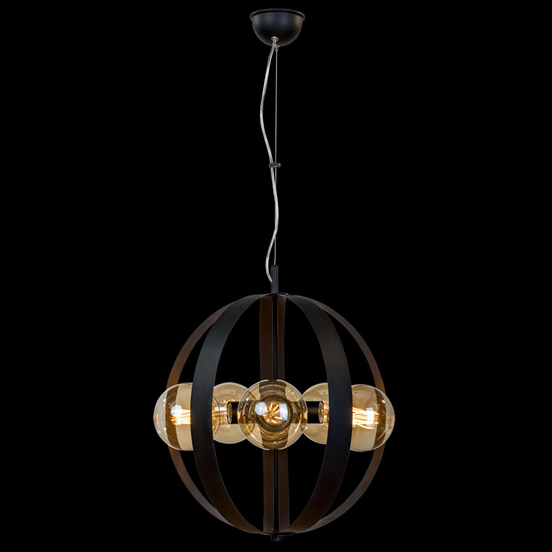 Lampa wisząca Livia, 5-punktowa, czarna