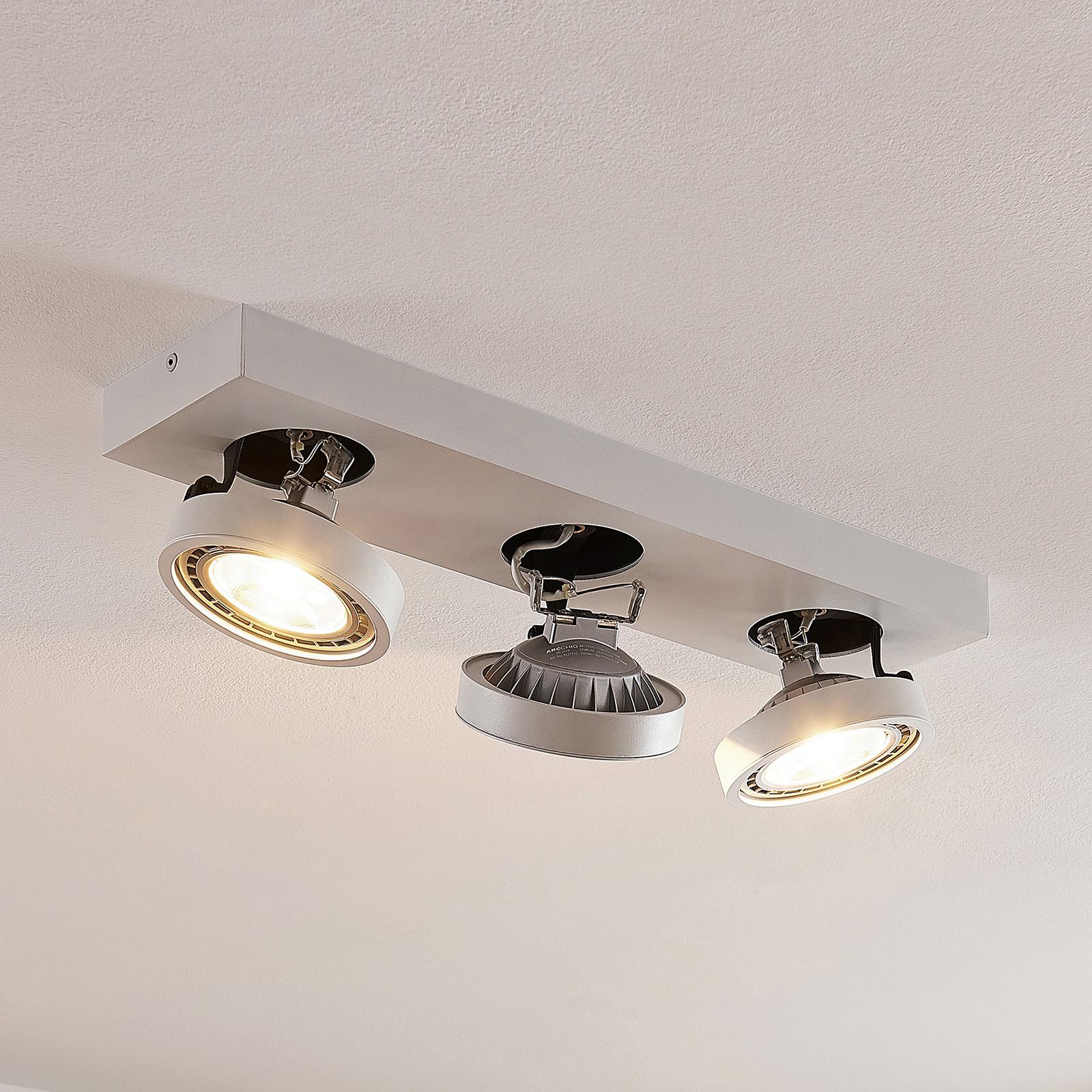 LED plafondlamp Negan in wit, drie lampjes