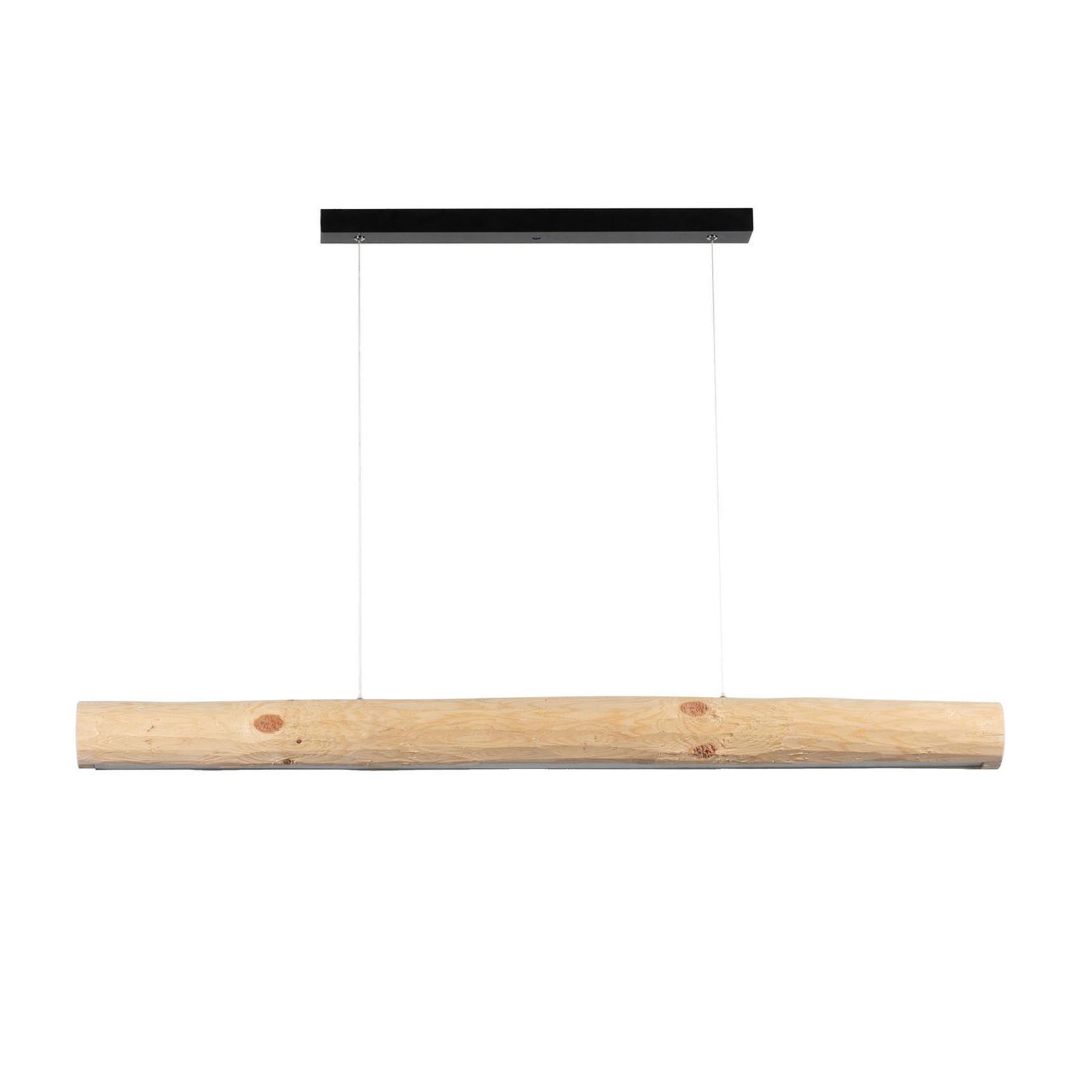 Hanglamp Lucas, dennenhout natuur, 115cm lang