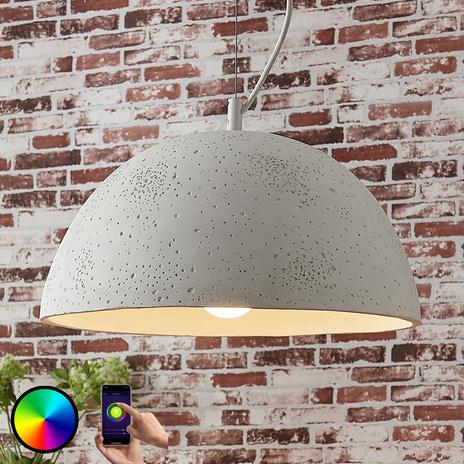 Lindby Smart lampa wisząca Carolle, beton, LED RGB