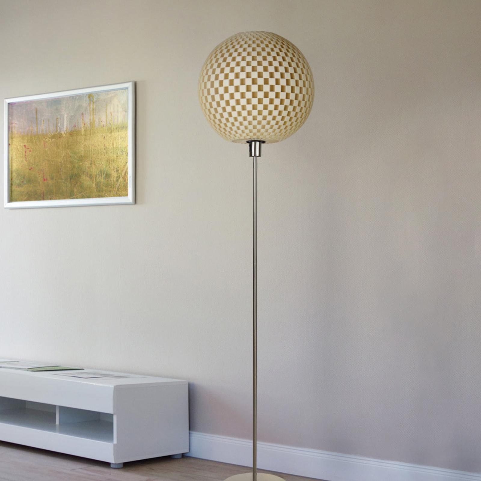 Ongewone design-vloerlamp Flechtwerk, linnen