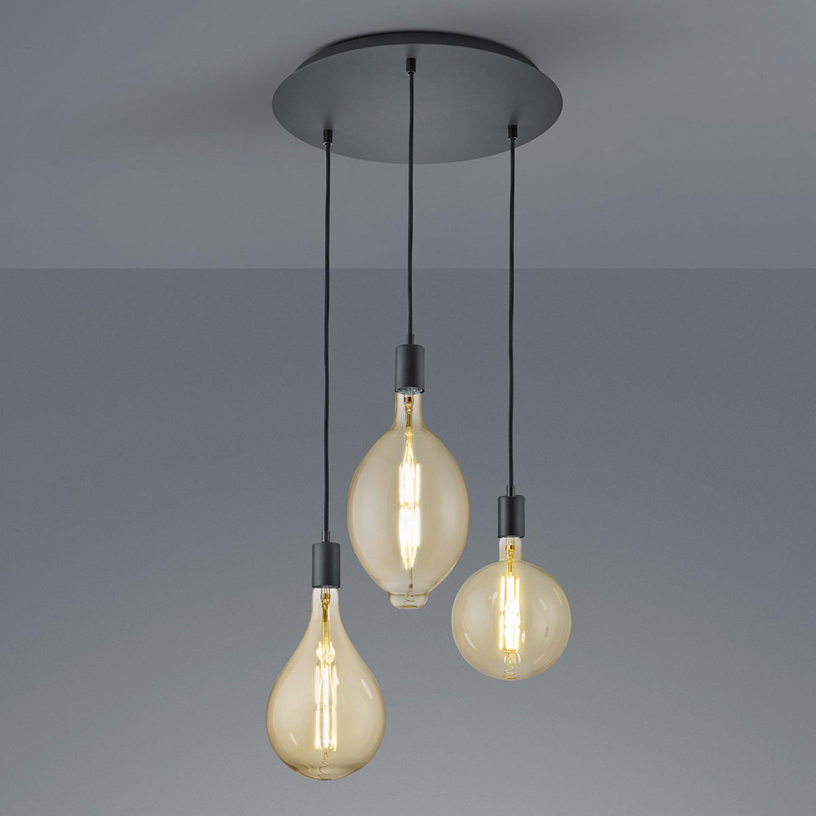 Lampa wisząca LED Ginster matowa czarna okrągła