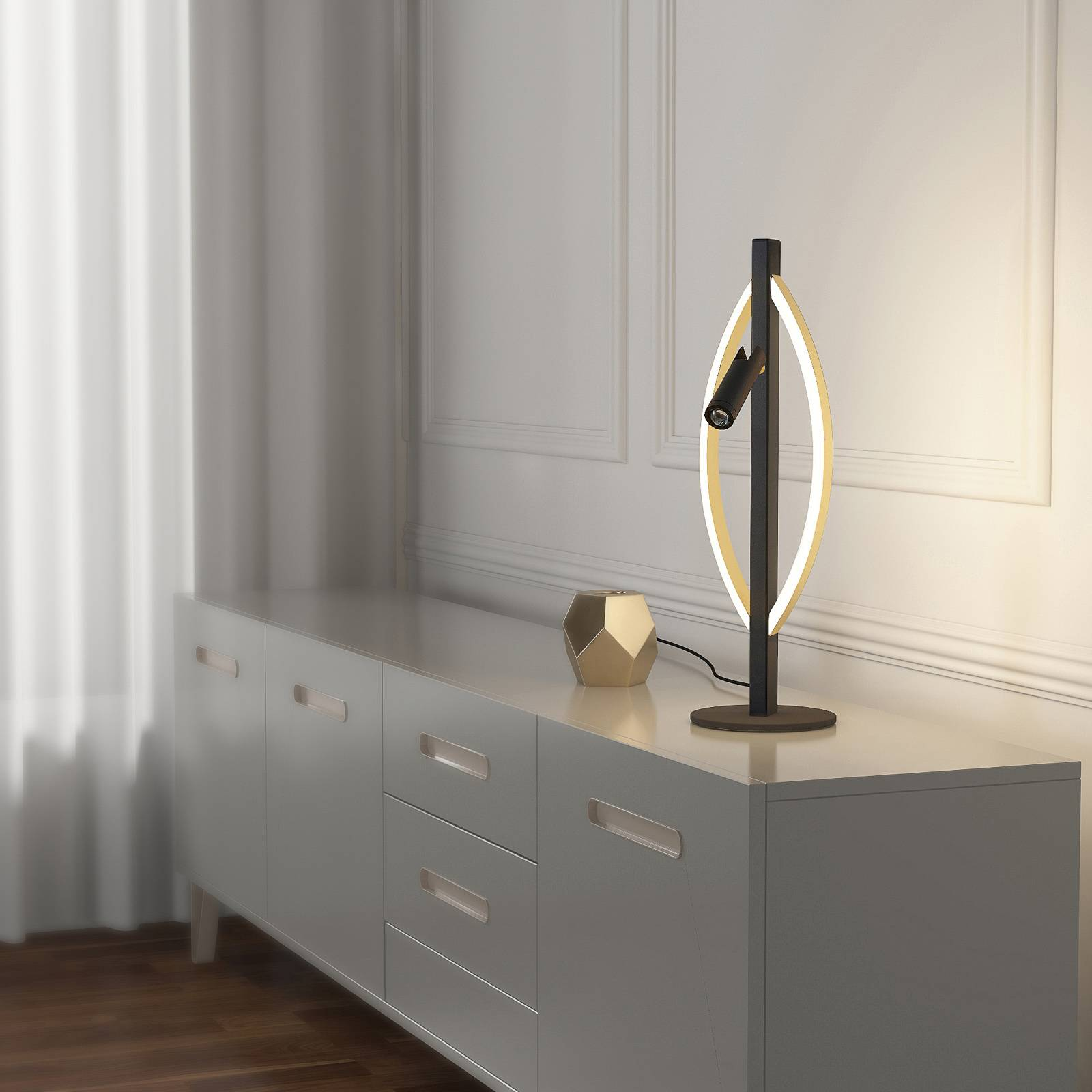 Lucande Matwei LED tafellamp, ovaal, messing