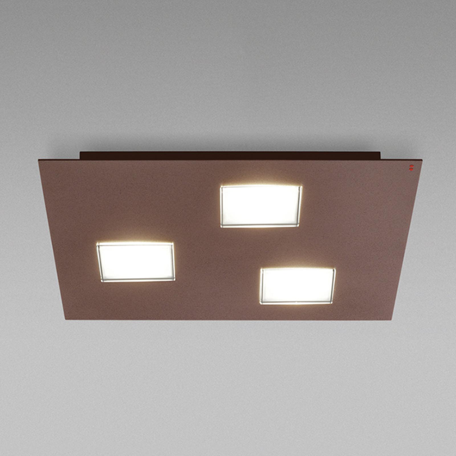 Fabbian Quarter - braune LED-Deckenlampe 3flg.