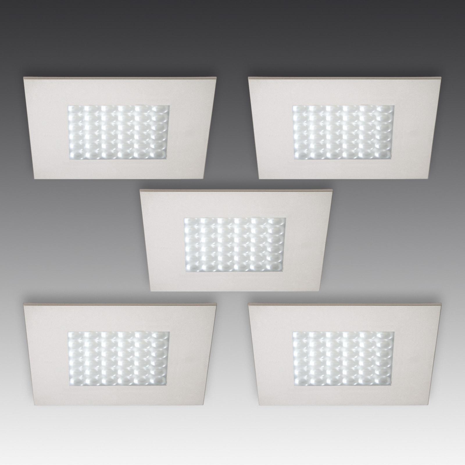 Set de 5 spots encastrés LED Q 68 aspect inox