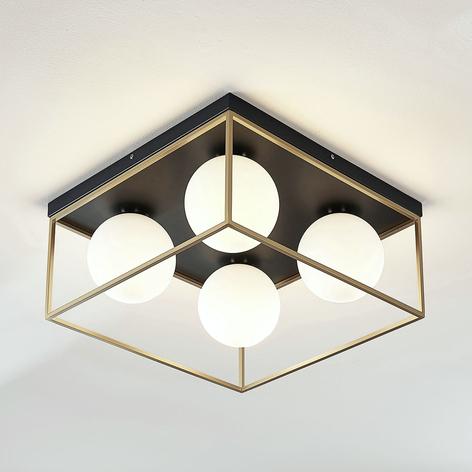 Lámpara de techo Aloam con 4 bolas de cristal