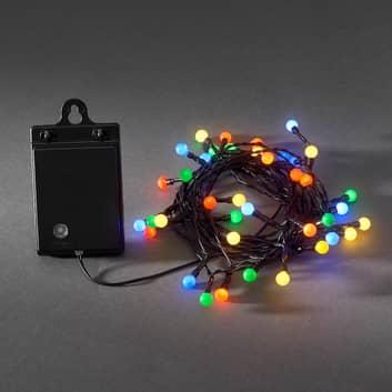 Colorida cadena de 40 luces LED ext. RGB, a pilas
