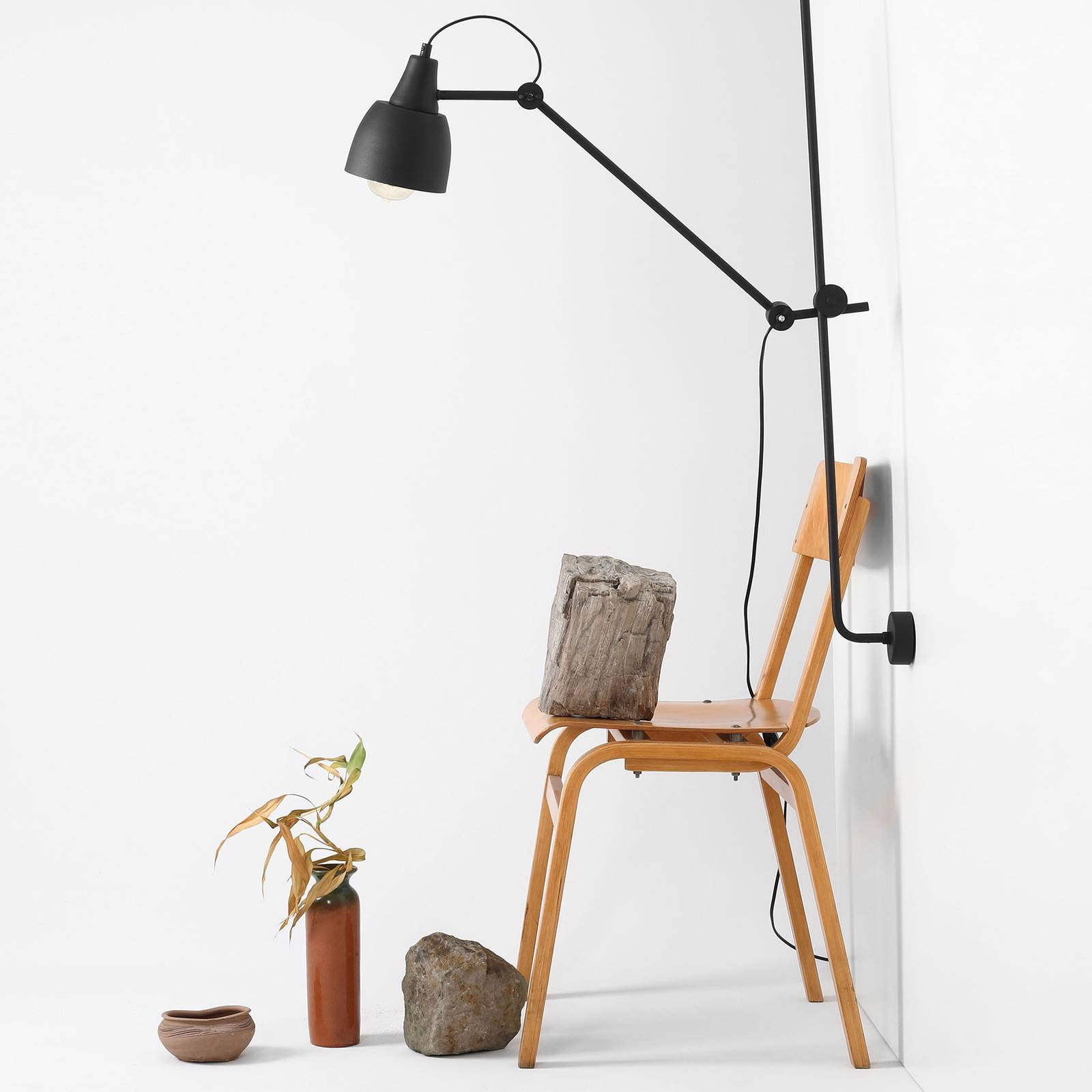 Wandlamp 997 met stekker, 1-lamp, zwart