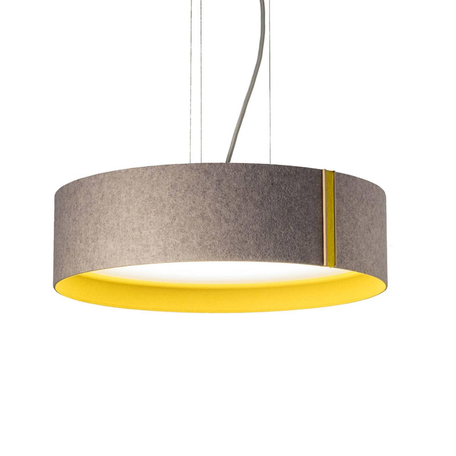 Suspension LED LARAfelt M, Ø43cm, gris/curry