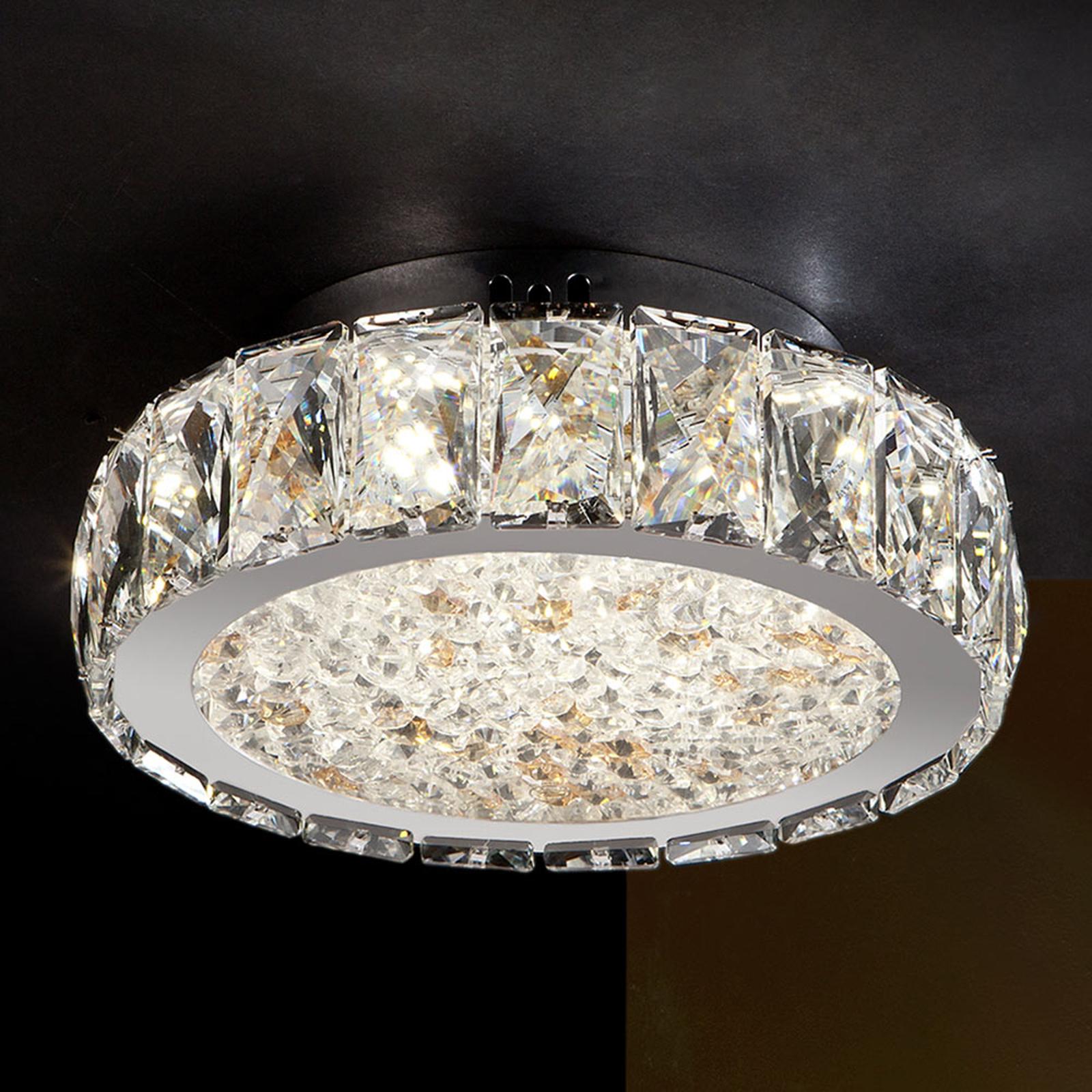 Dana lampa sufitowa LED ze szklanymi kryształkami