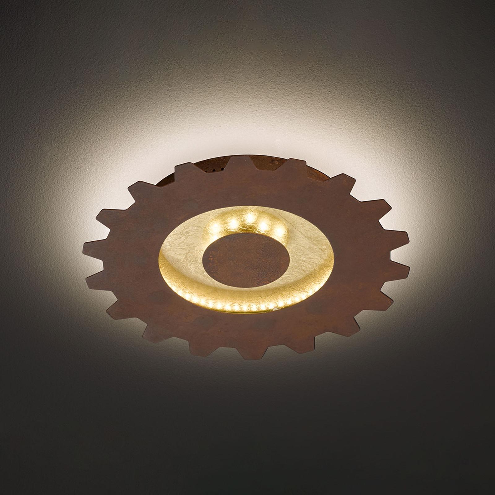 LED-Deckenleuchte Leif in Zahnradoptik, Ø 30 cm