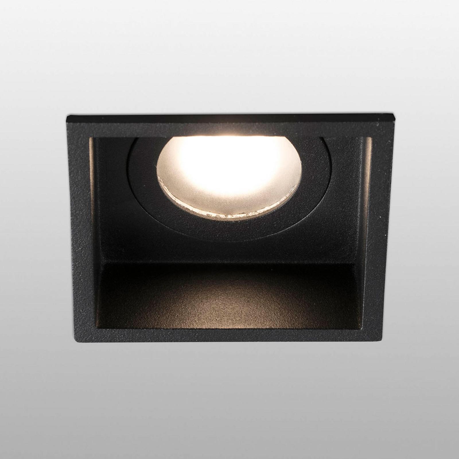 Spot encastré Hyde 1 lampe cadre carré IP44 noir