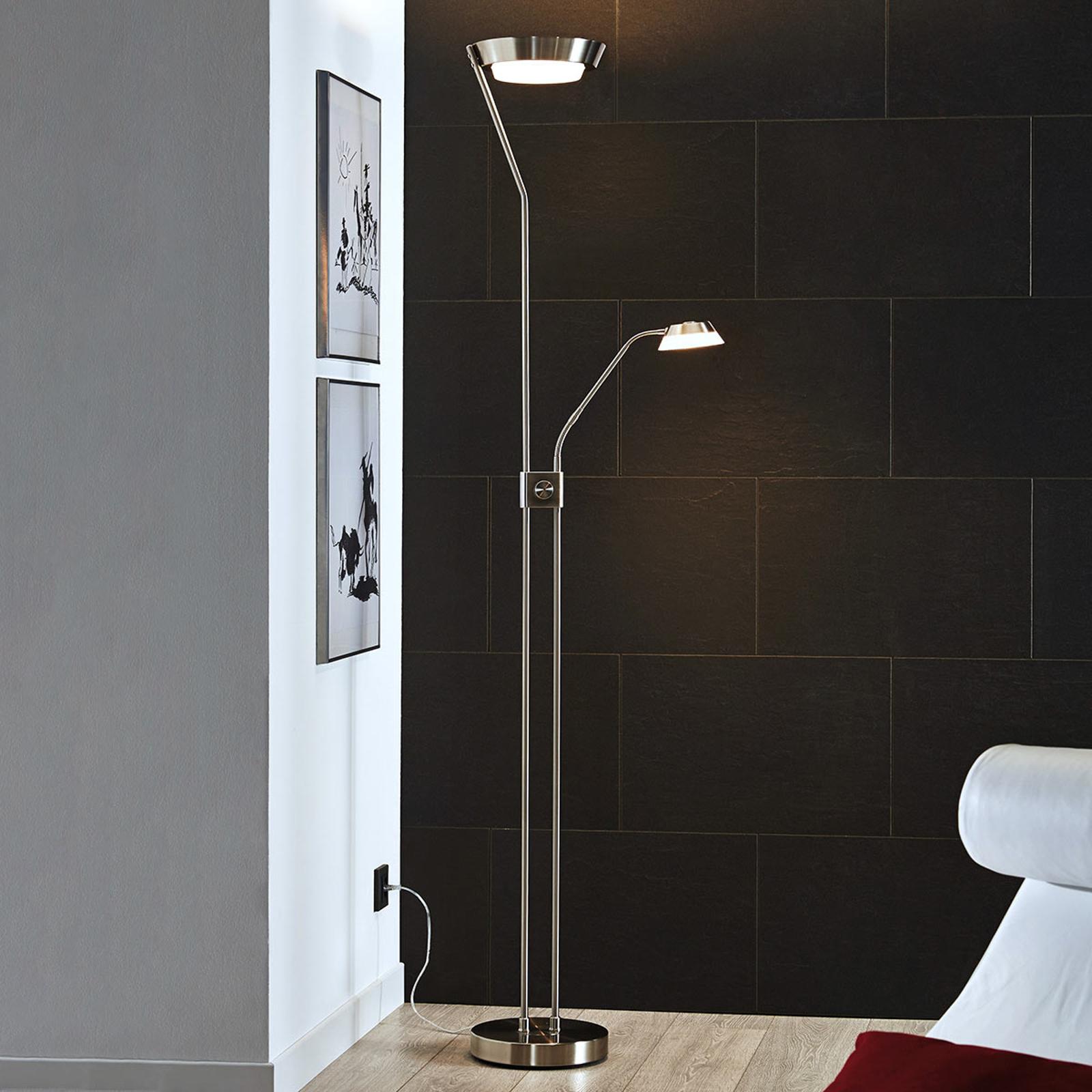 LED stojací lampa Sarrione z oceli, matný nikl