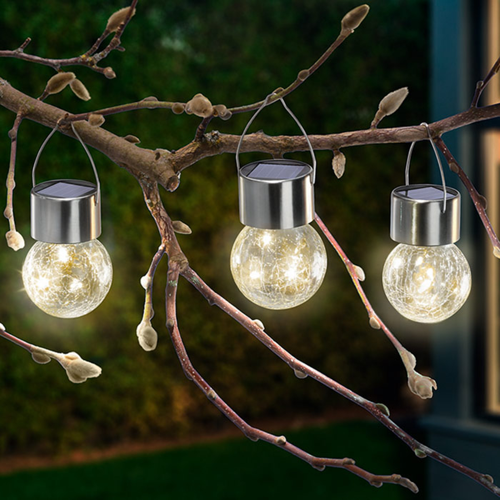 LED-solcellelampe Crackle Ball 3-pakning 3 000K