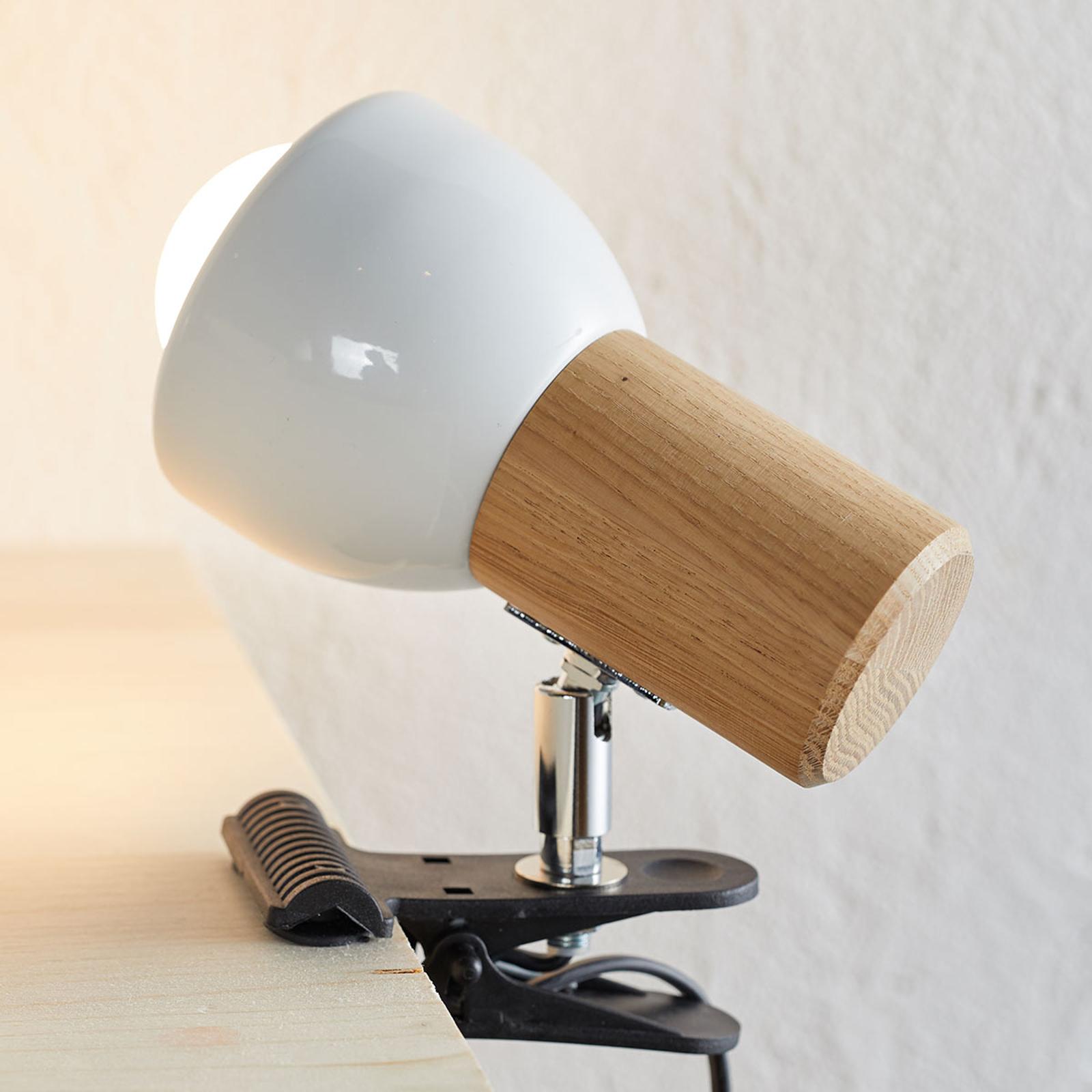 Kleine klemlamp Clampspots met eikenhout