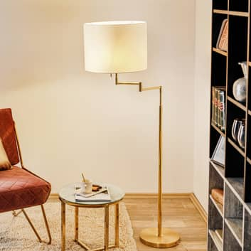 Golvlampa Lilian, LED-dimmer, polerad mässing/matt