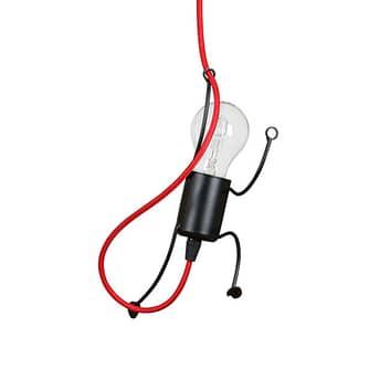 Suspension Bobi 1 en noir, câble rouge, à 1 lampe