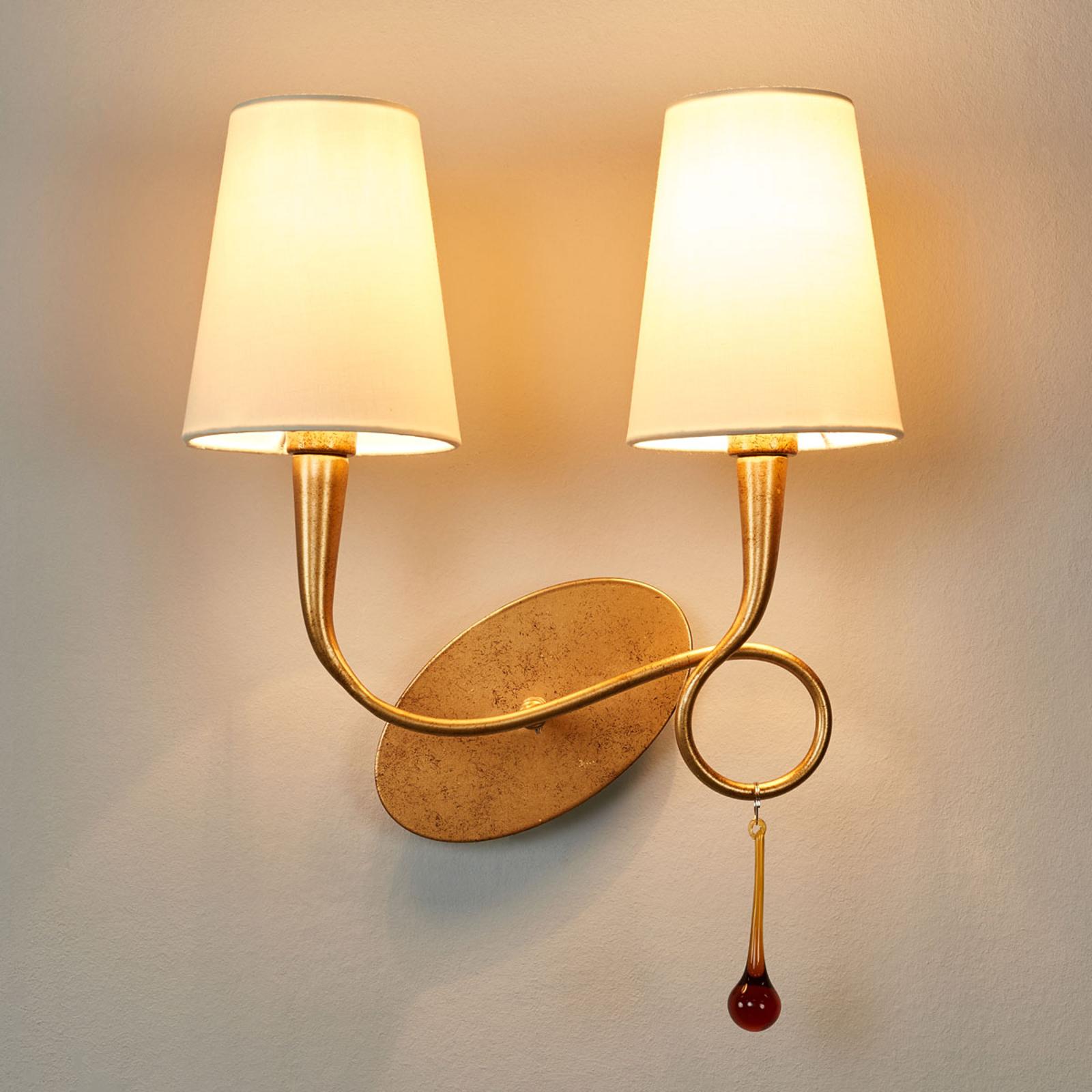 Gyllen vegglampe Paola med to lys