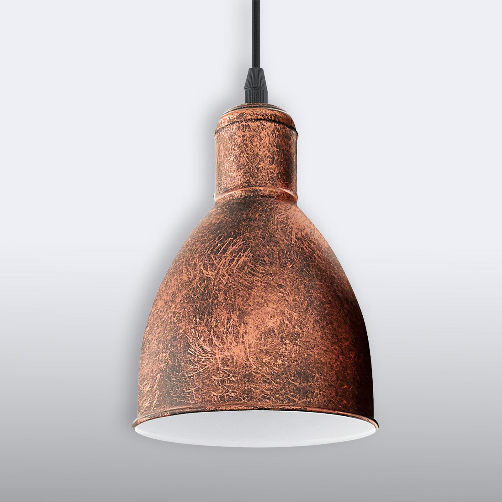 Lámpara colgante vintage Priddy 1, 1 luz, cobre