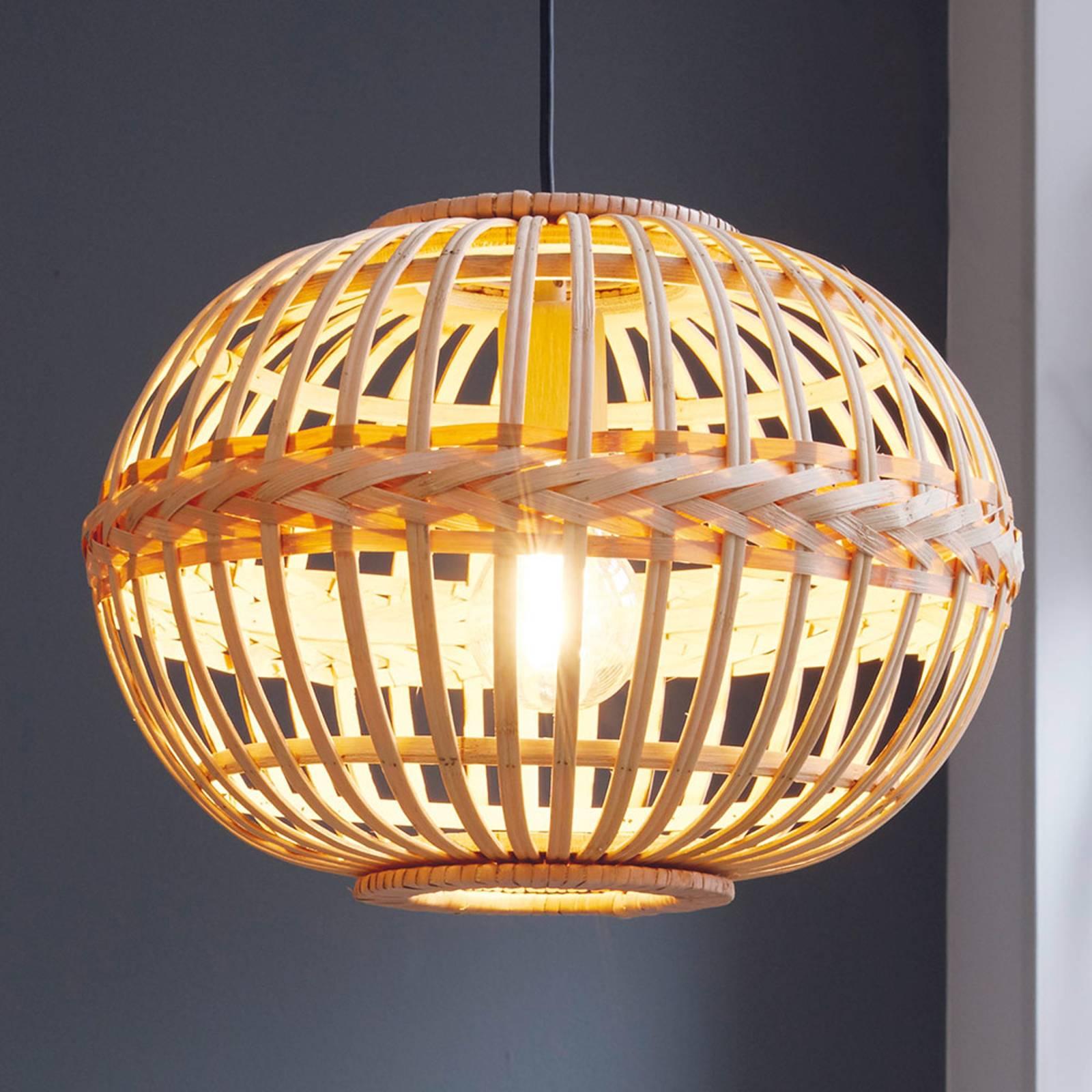 Lampa wisząca Amsfield z bambusa, owalny kształt