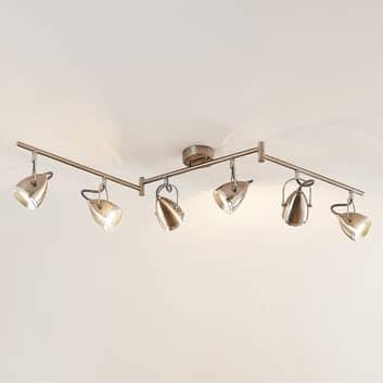 Lindby Jadon LED-takspotlight nickel 6 lampor