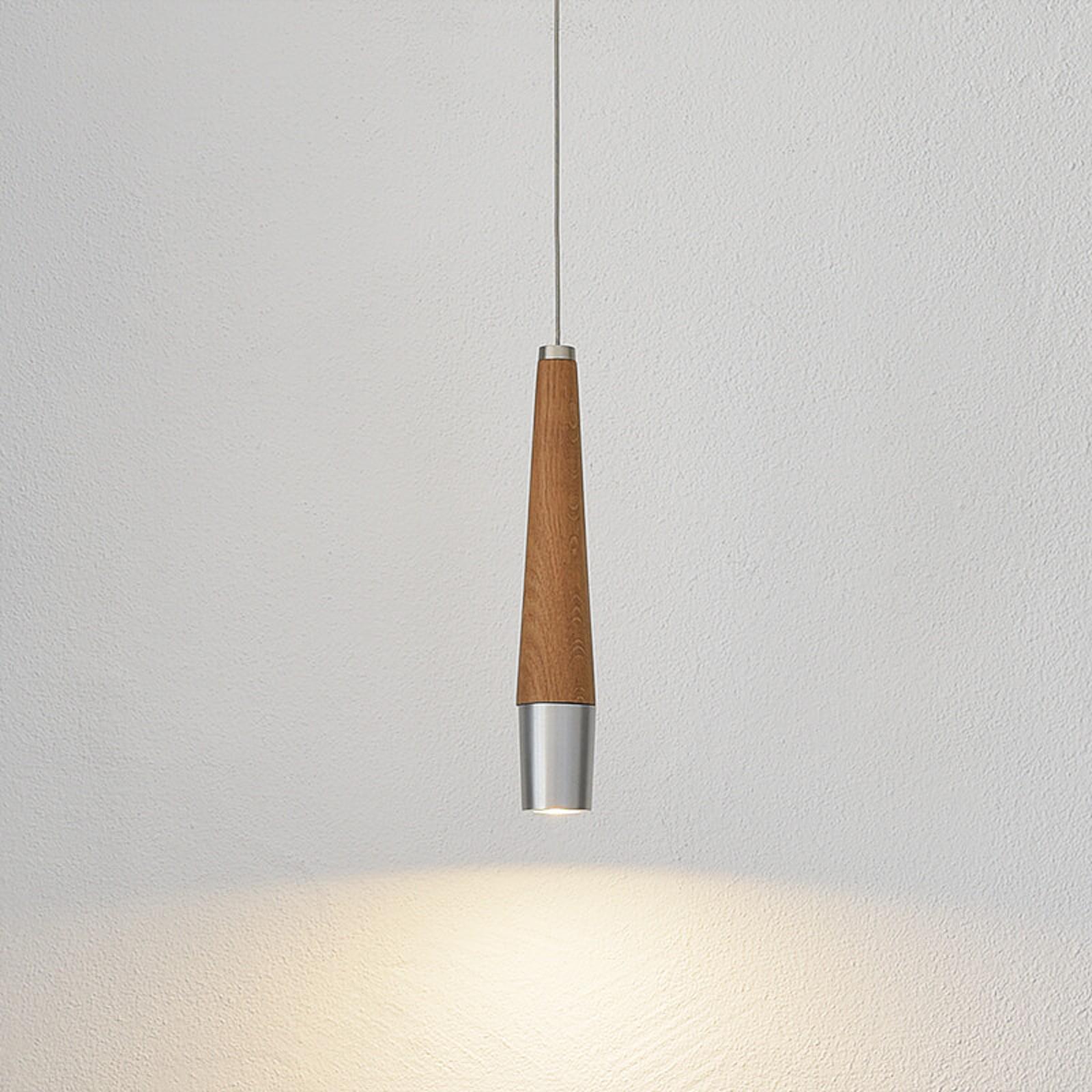 Conico - suspension LED à élément en bois massif