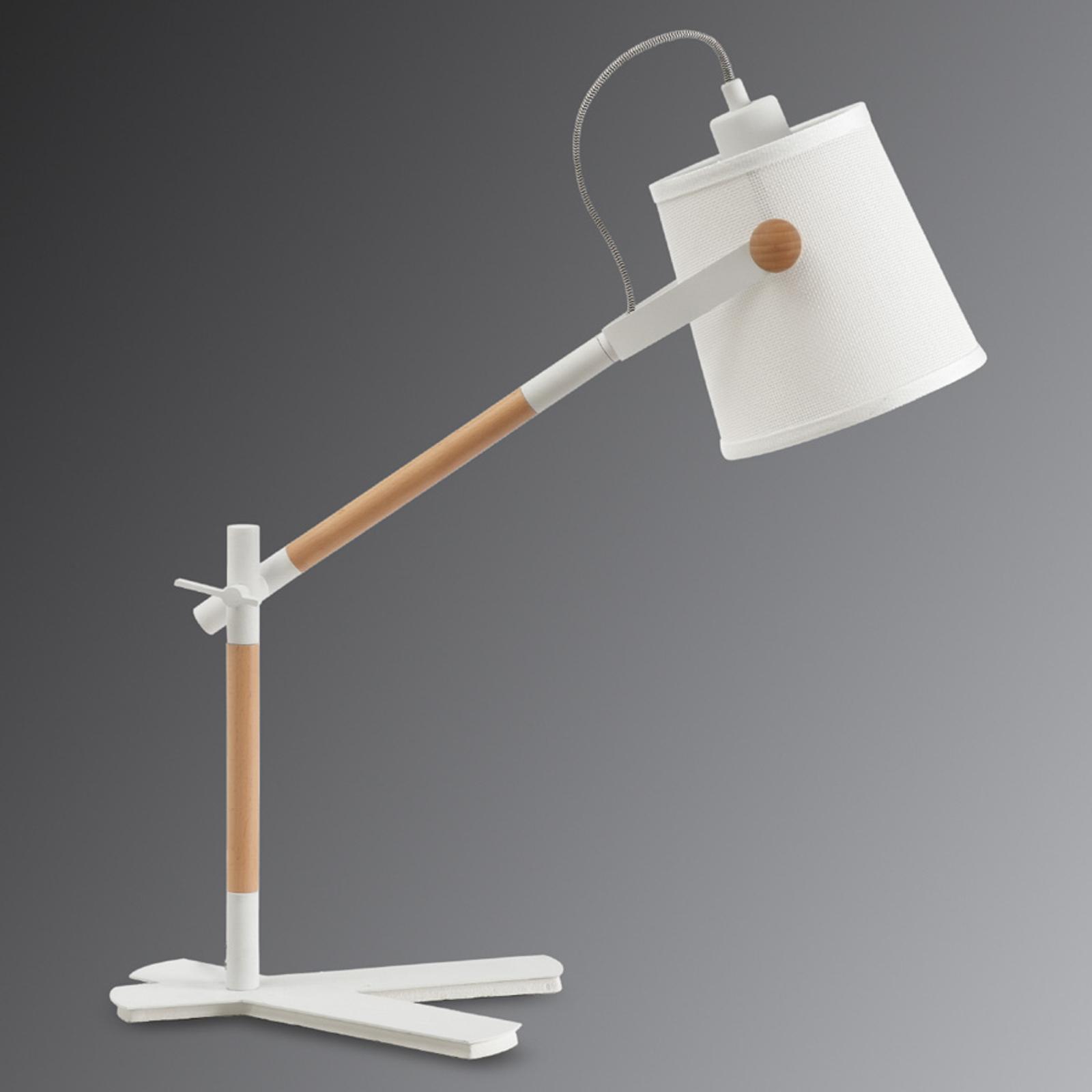 Lampe à poser en bois et tissu Nordica