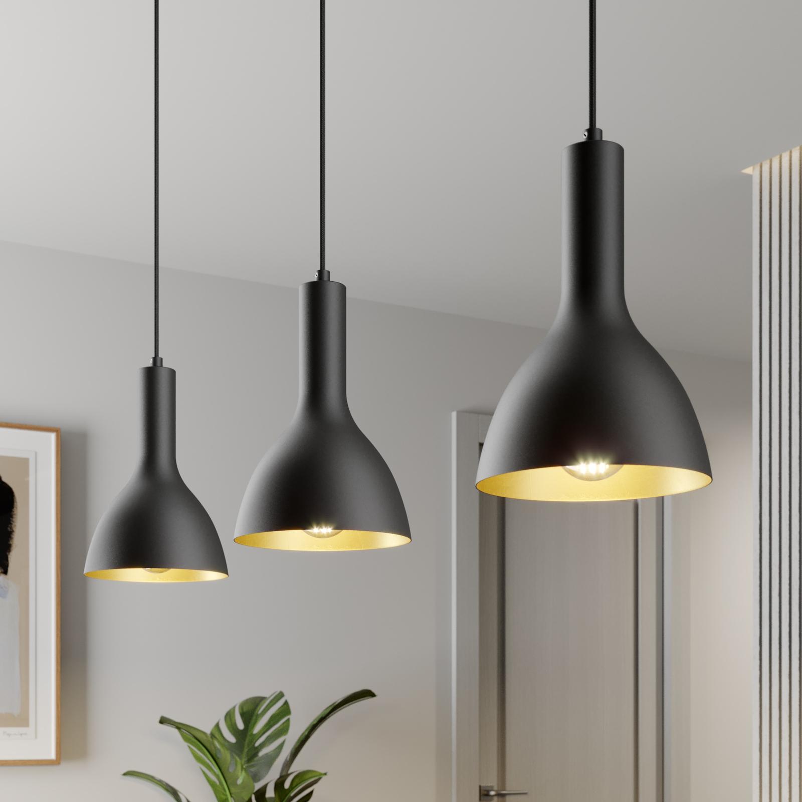 Arcchio Cosmina -riippuvalo, 3-lamp., musta