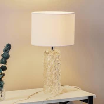 Lámpara de mesa blanca Madame con pantalla textil