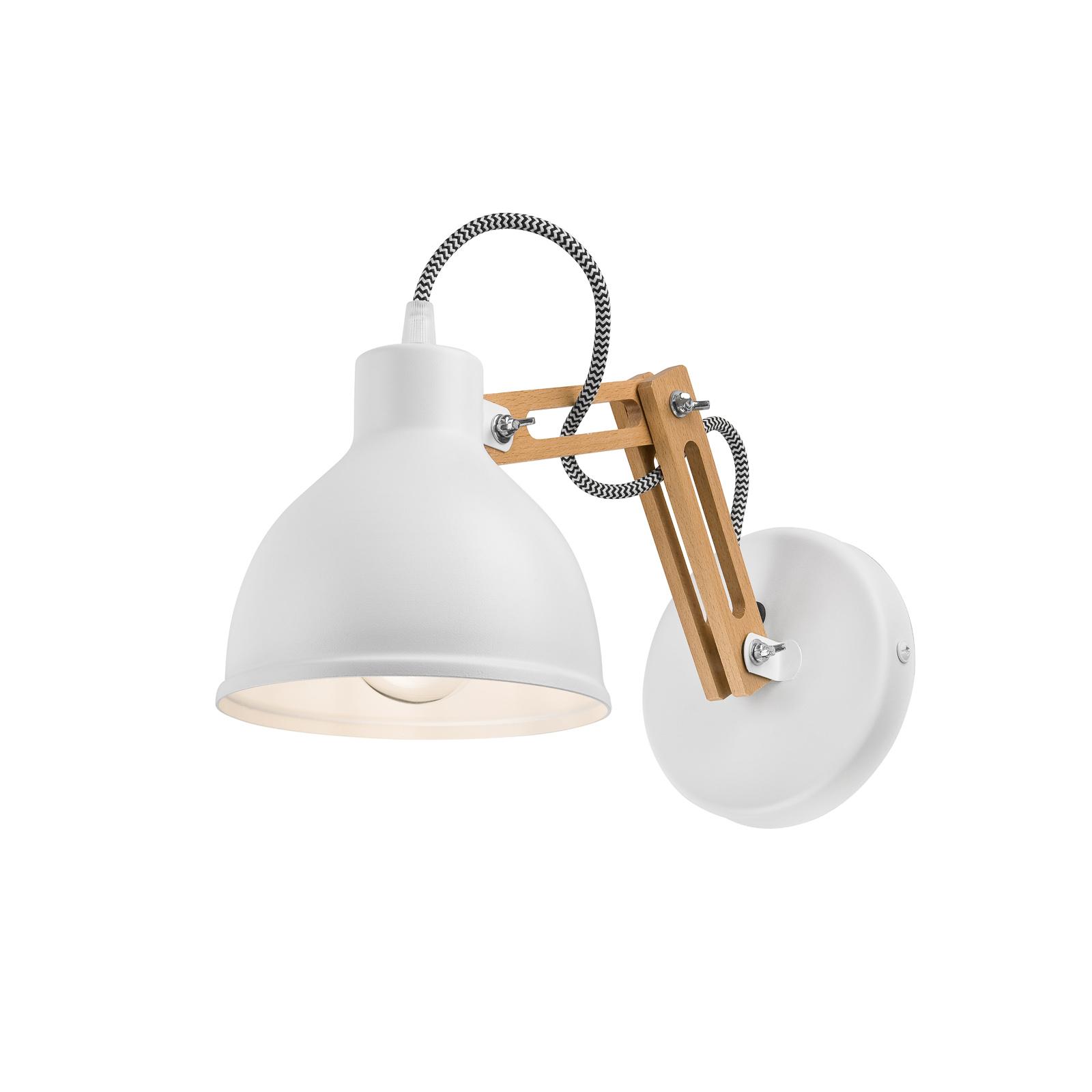 Wandlampe Skansen, Holzarm verstellbar, weiß