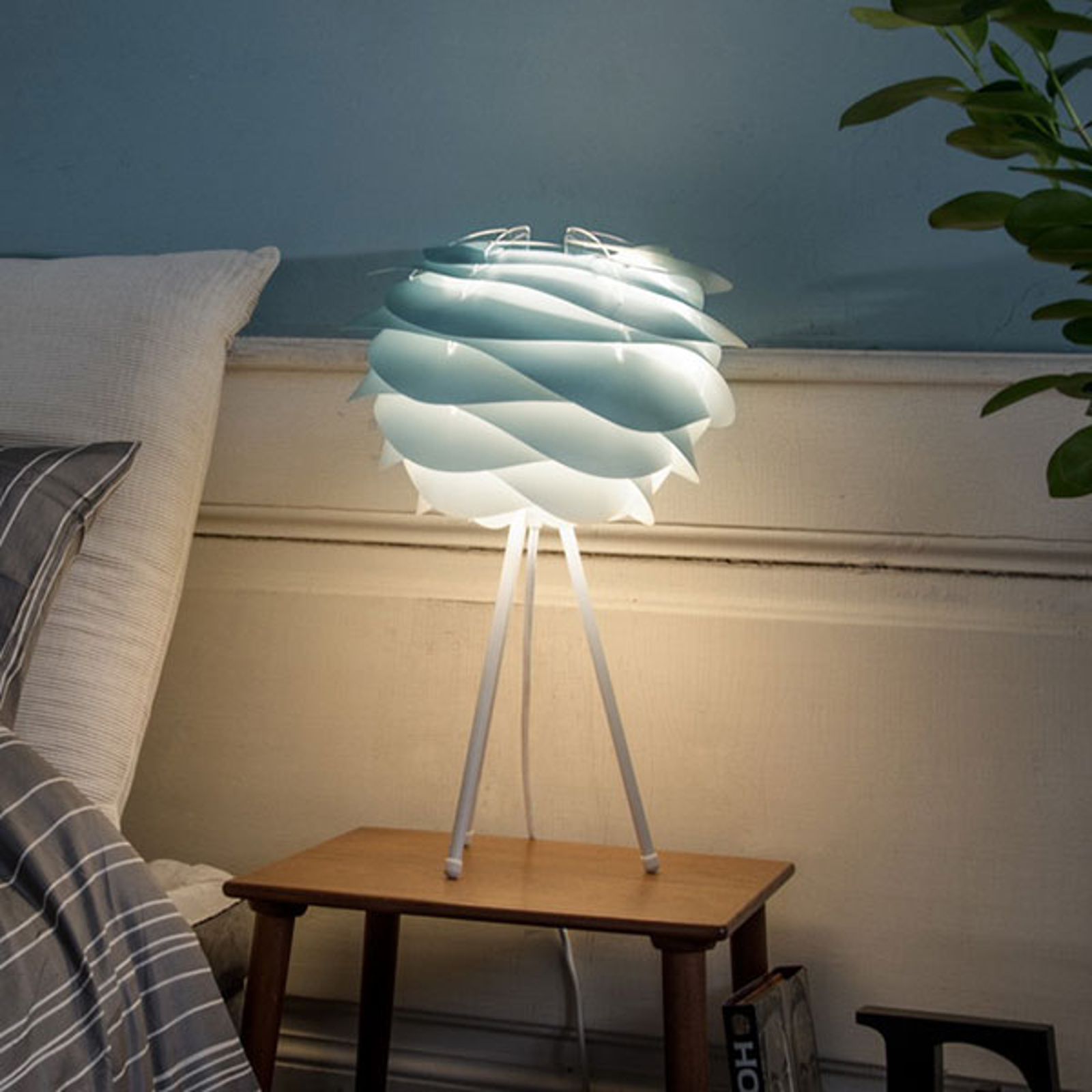 UMAGE Carmina Mini tafellamp blauw/tripod wit