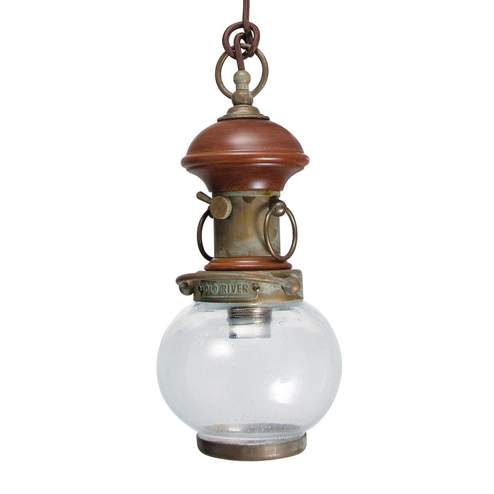 Lampa wisząca WIND 3, 1-pkt., z dekorem drewnianym