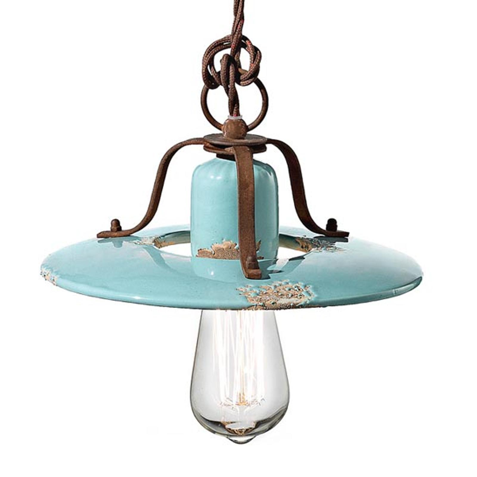 Lampa wisząca vintage Giorgia w kolorze turkusowym