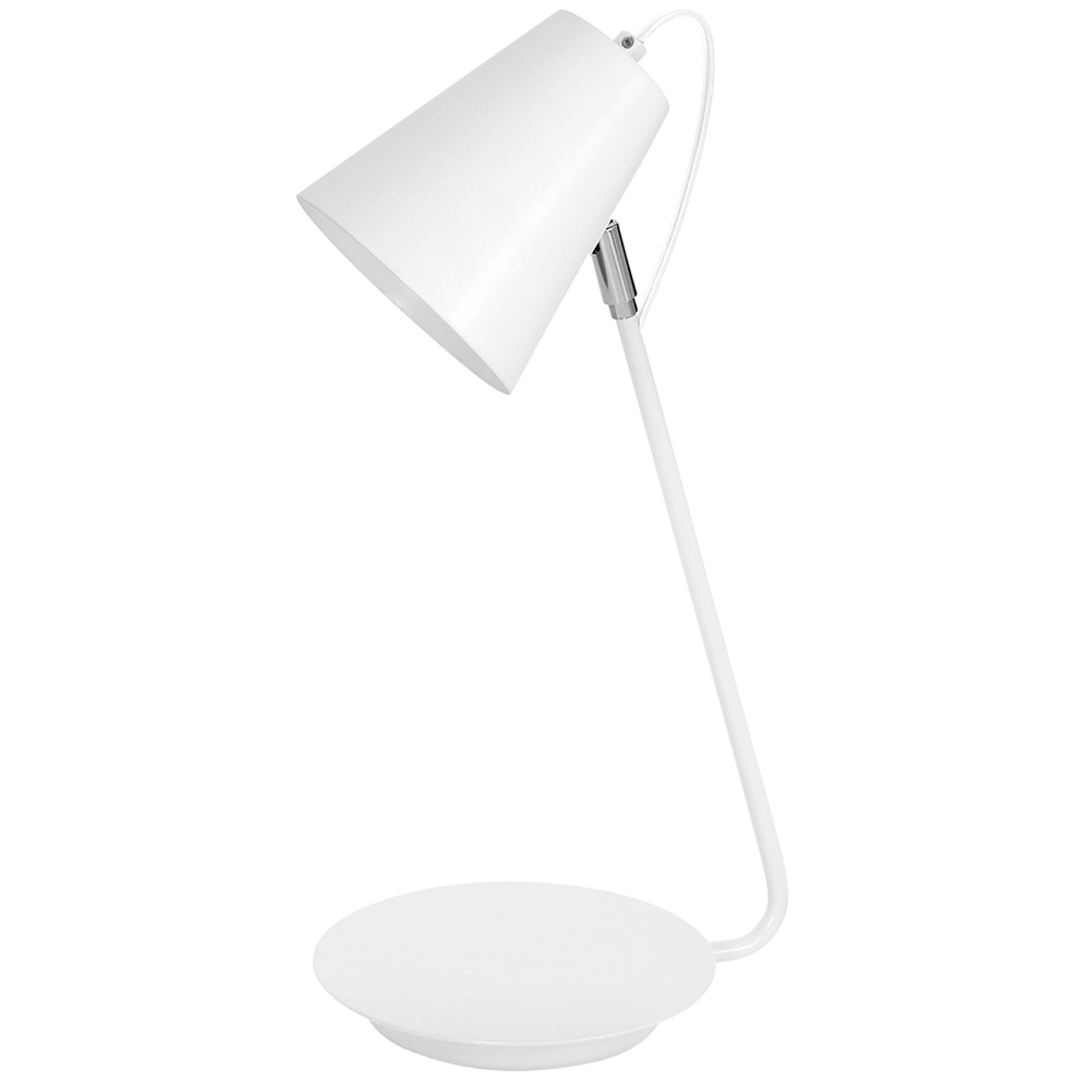Lampa stołowa 8296 stożkowa chromowy detal, biała