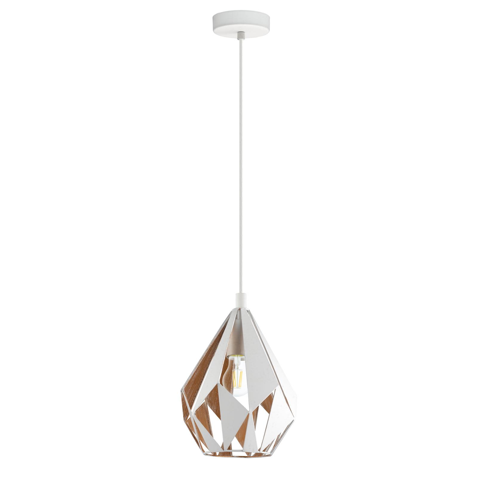 Hanglamp Carlton 1, wit-goud, Ø 20,5cm