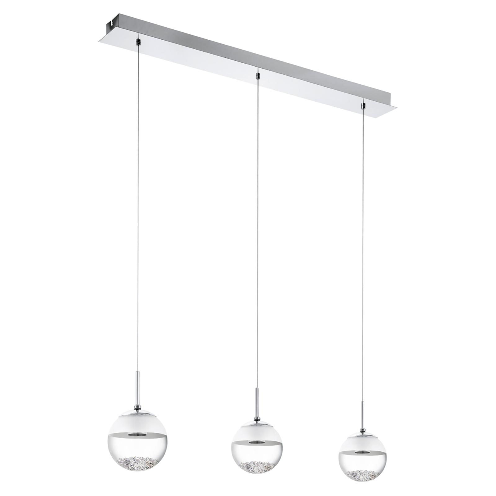 Podlhovasté závesné LED svietidlo Montefio krištáľ