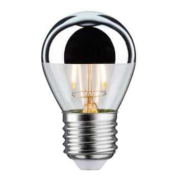 Ampoule tête miroir LED E27 goutte 827 argent 2,6W