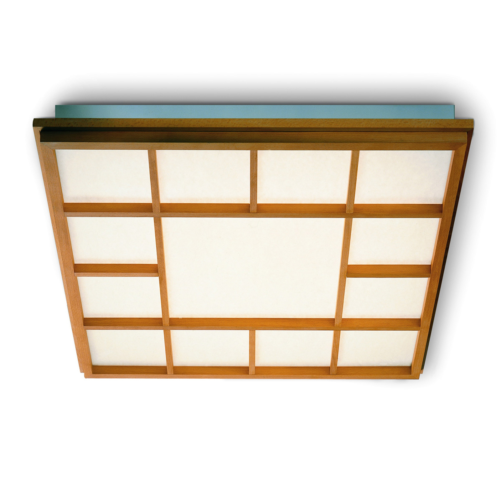 Vierkante LED plafondlamp Kioto 13 beuken