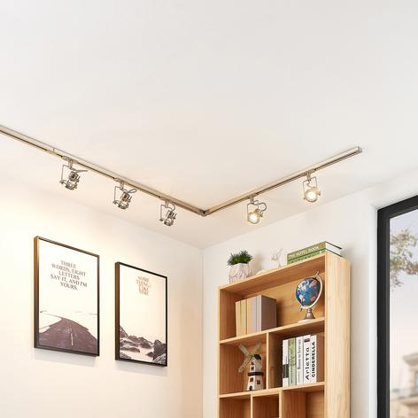 Sistema de riel LED Arika, 1 fase, 6 luces, níquel