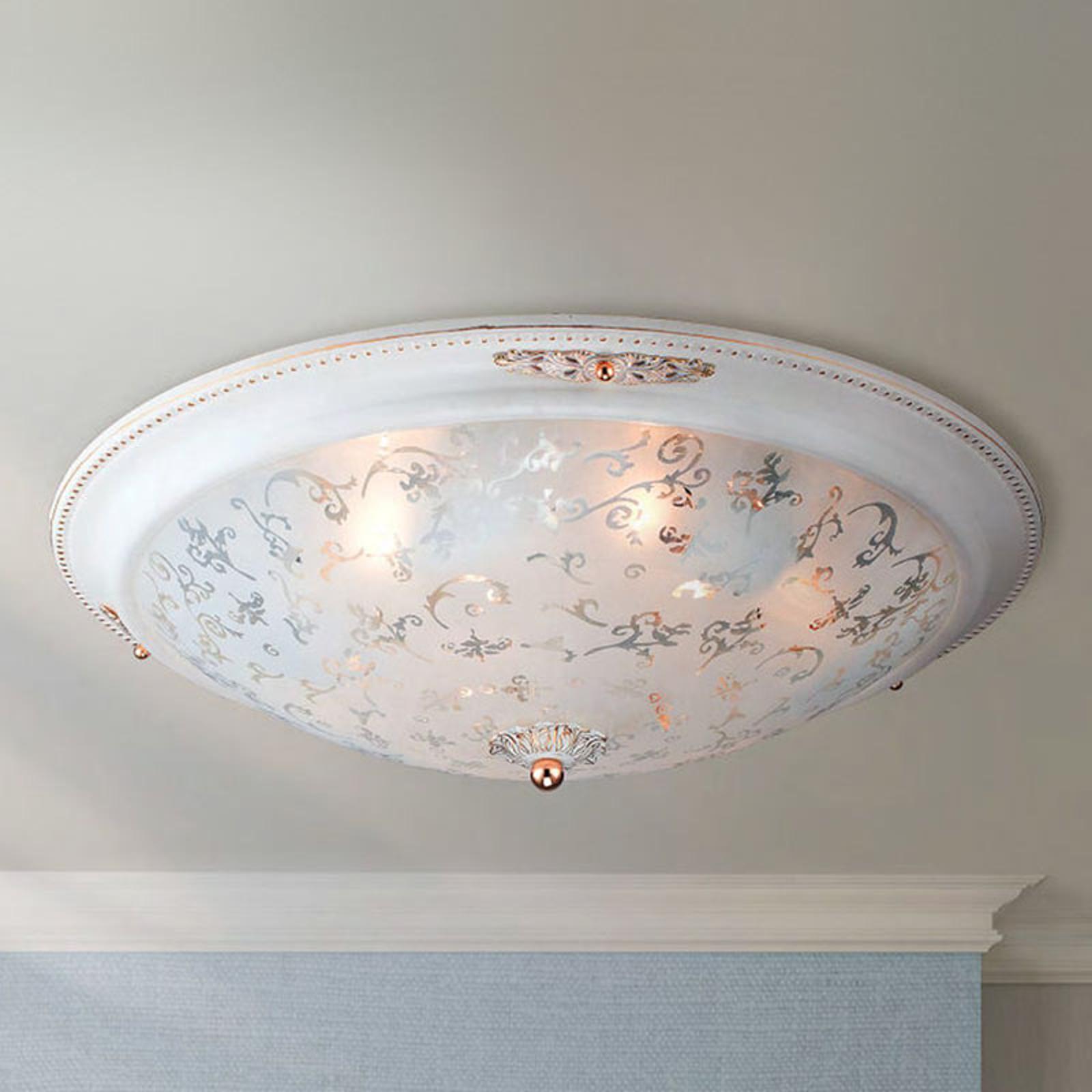 Szklana lampa sufitowa Diametrik - białe złoto