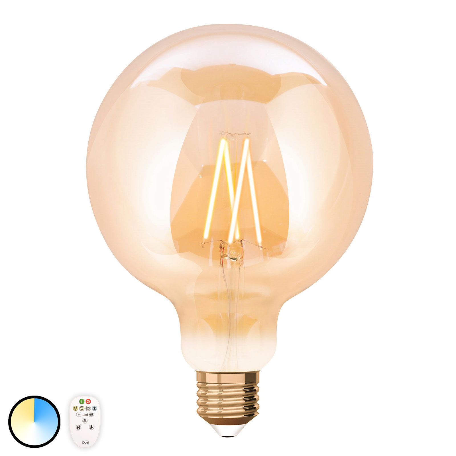 iDual LED-Lampe E27 9W m. Fernbedienung 12,5cm