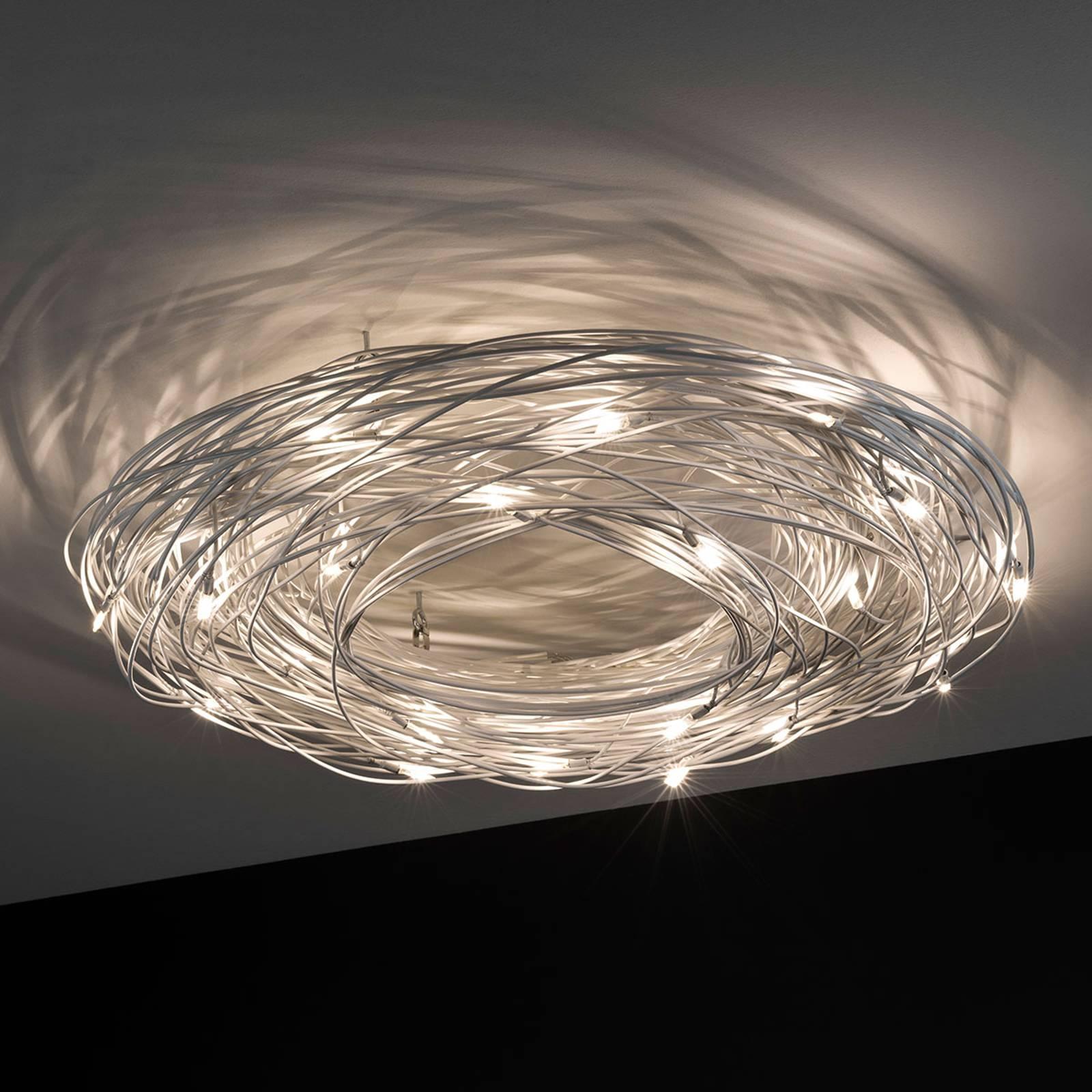 Lampa sufitowa LED Confusione, drut aluminiowy
