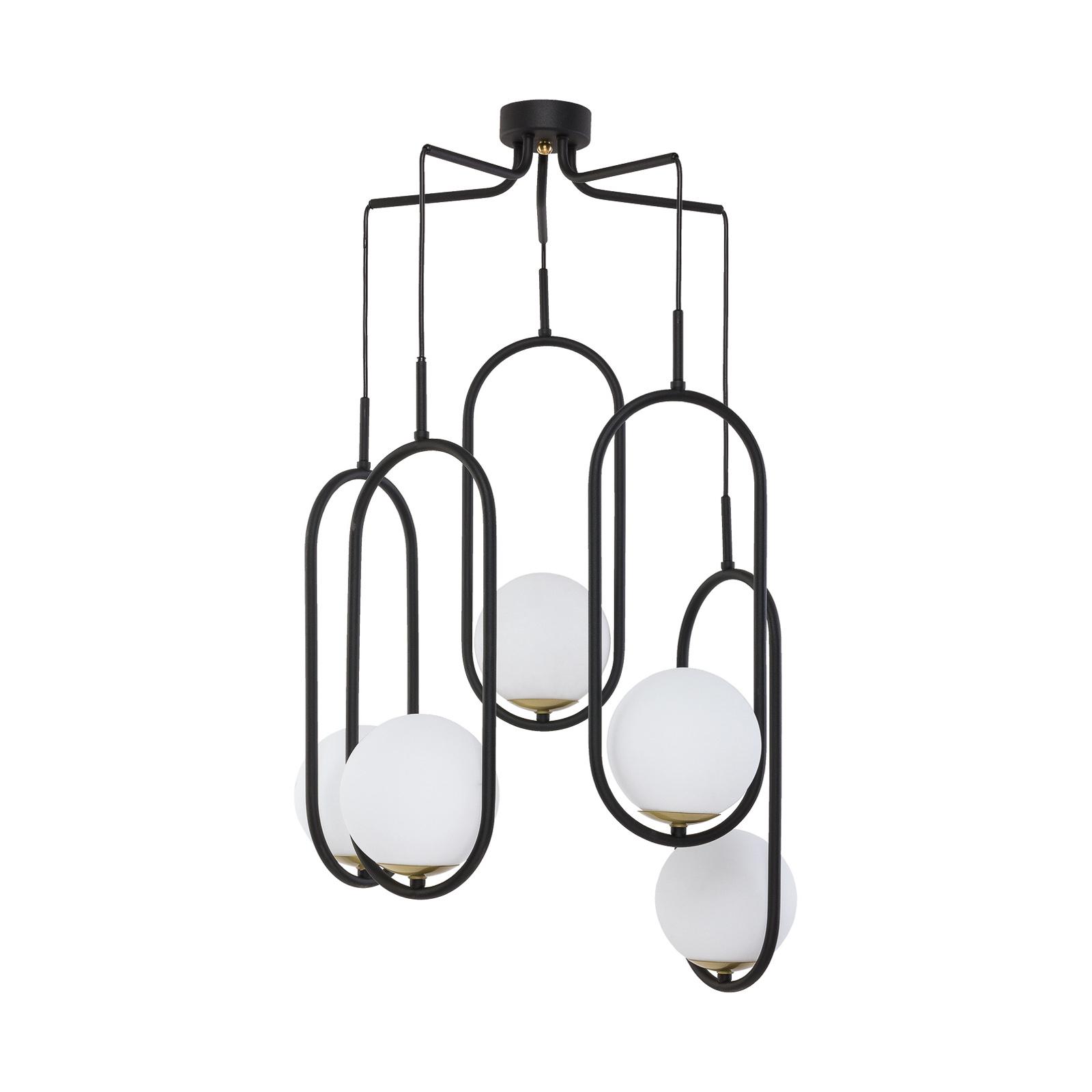 Lampada sospensione Samba, vetro opale/nero 5 luci